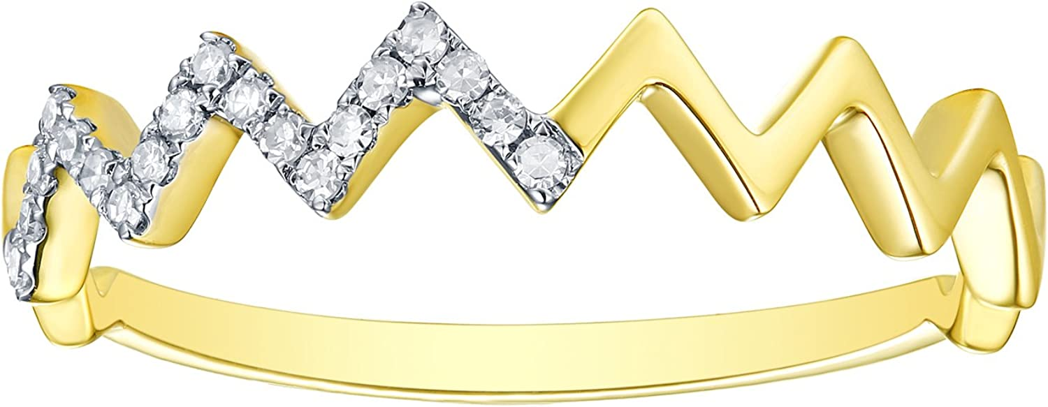 10K Gold Prism Jewel Natural G-H//I1 Round Diamond Delicate Stackable Ring