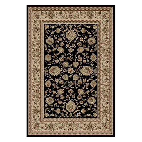Rug Border Black Scroll - Tayse Rugs Sensation 4723 Black Oriental Rug