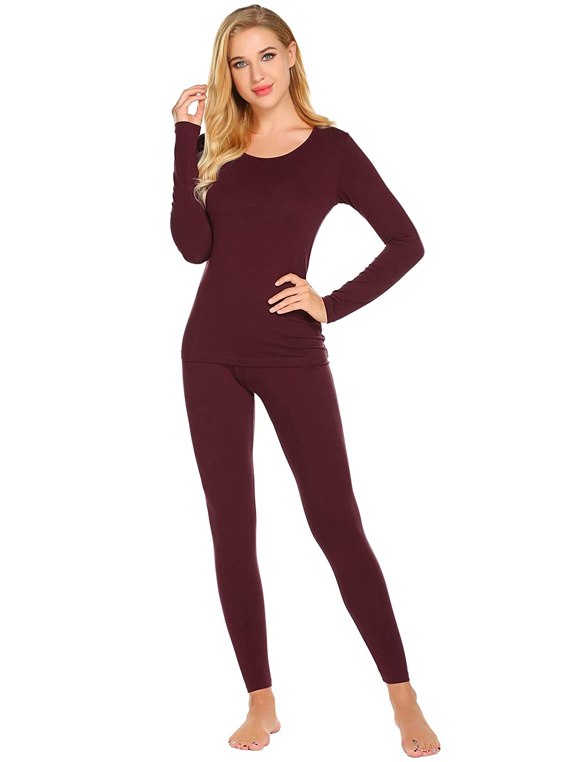Ekouaer Women's Slimming Top & Bottom Pajama Long Thermal Underwear Winter Base Layering Set S-XXXL EKV007070