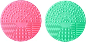 Makeup Brush Cleaner Cleaning Mat Silicon Portable Scrubbing Pad For Make up Brush Pack of 2