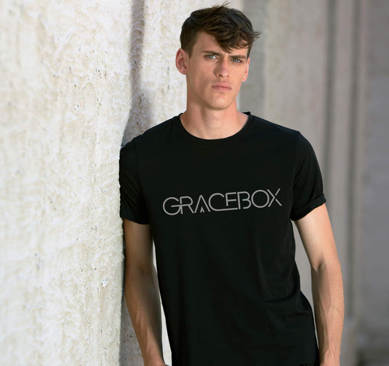 GRACEBOX Men\'s Short Sleeve Tee Slim-Fit Stretch Lycra Crew&Round Neck T-Shirts Casual Tops for Men(BL Black