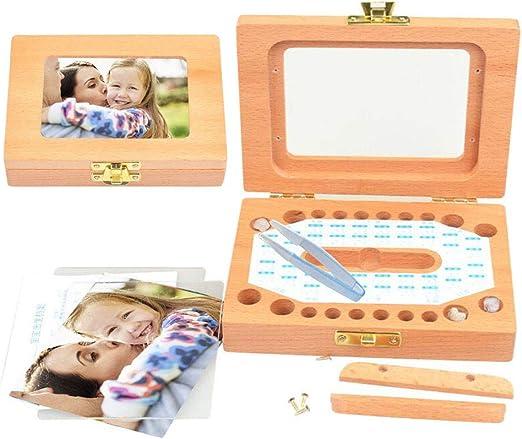 junkai Dientes de bebé Guardar Caja Organizador Dientes Caja de Recuerdo Caja de Recuerdo de Madera