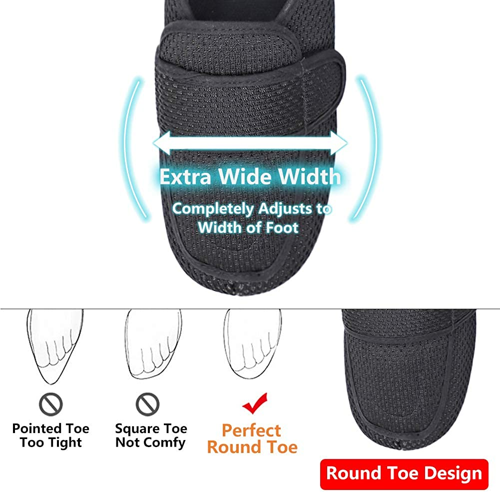 Mens Diabetic Slippers Edema Shoes with Adjustable Closures Extra Wide Width House Diabetes Strap Footwear Easy On Off for Swollen Feet Elderly Father Indoor