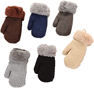 Toddler Kids Baby Boy Girl Winter Cute Soft Solid Knitting Mittens Warm Gloves