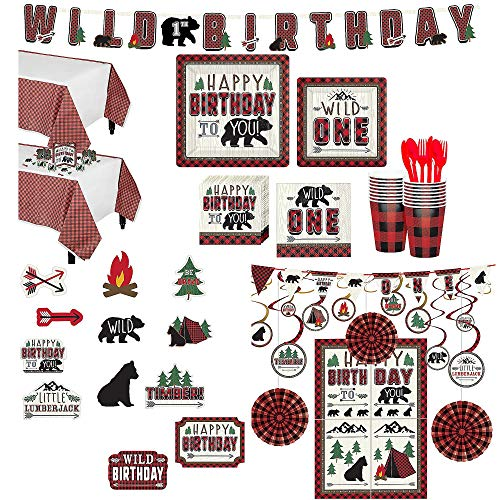 Party City Ultimate Little Lumberjack 1st Birthday Party Kit for 32 Guests, Includes Photo Booth Props -