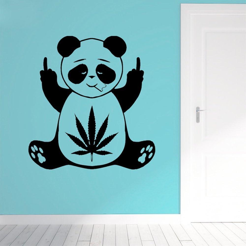 Black And Green Digital Print Vinyl Decal Panda Smoking Joint