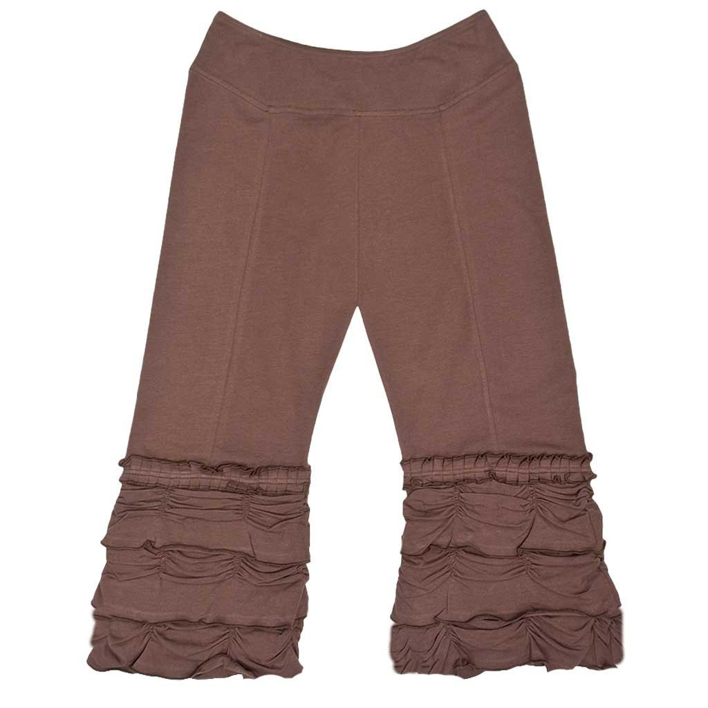 Women's Organic Cotton 3/4 Length Capri Brown Ruffle Festival Pants - DeluxeAdultCostumes.com