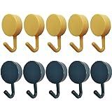 Sticky-Hooks Adhesive Hangers Bathroom Kitchen - Zhiweikm 10 Pack Adhesive Color Sticky Hooks Key Hook for Walls Damage Free,