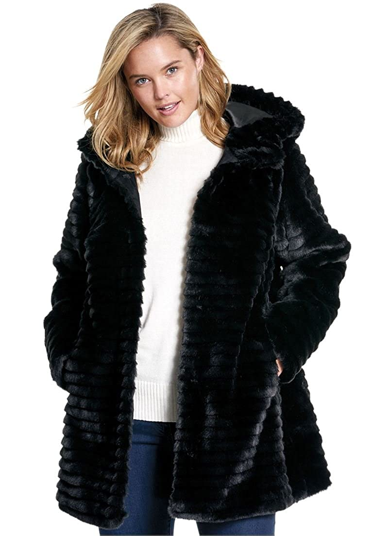 Woman Within Plus Size Faux Fur Coat