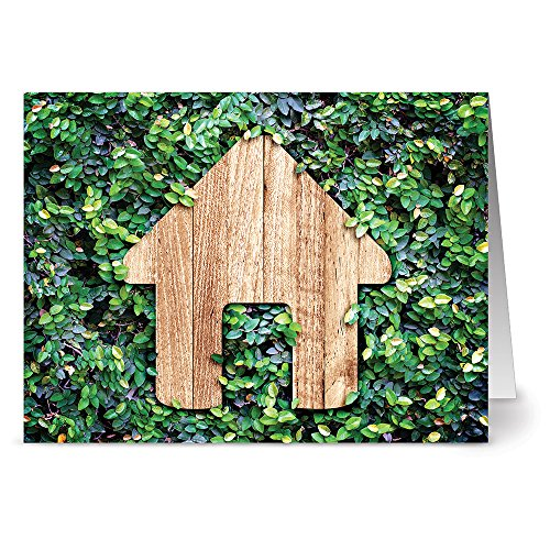 Green Garden House - 36 Note Cards - Blank Cards - Kraft Envelopes Included