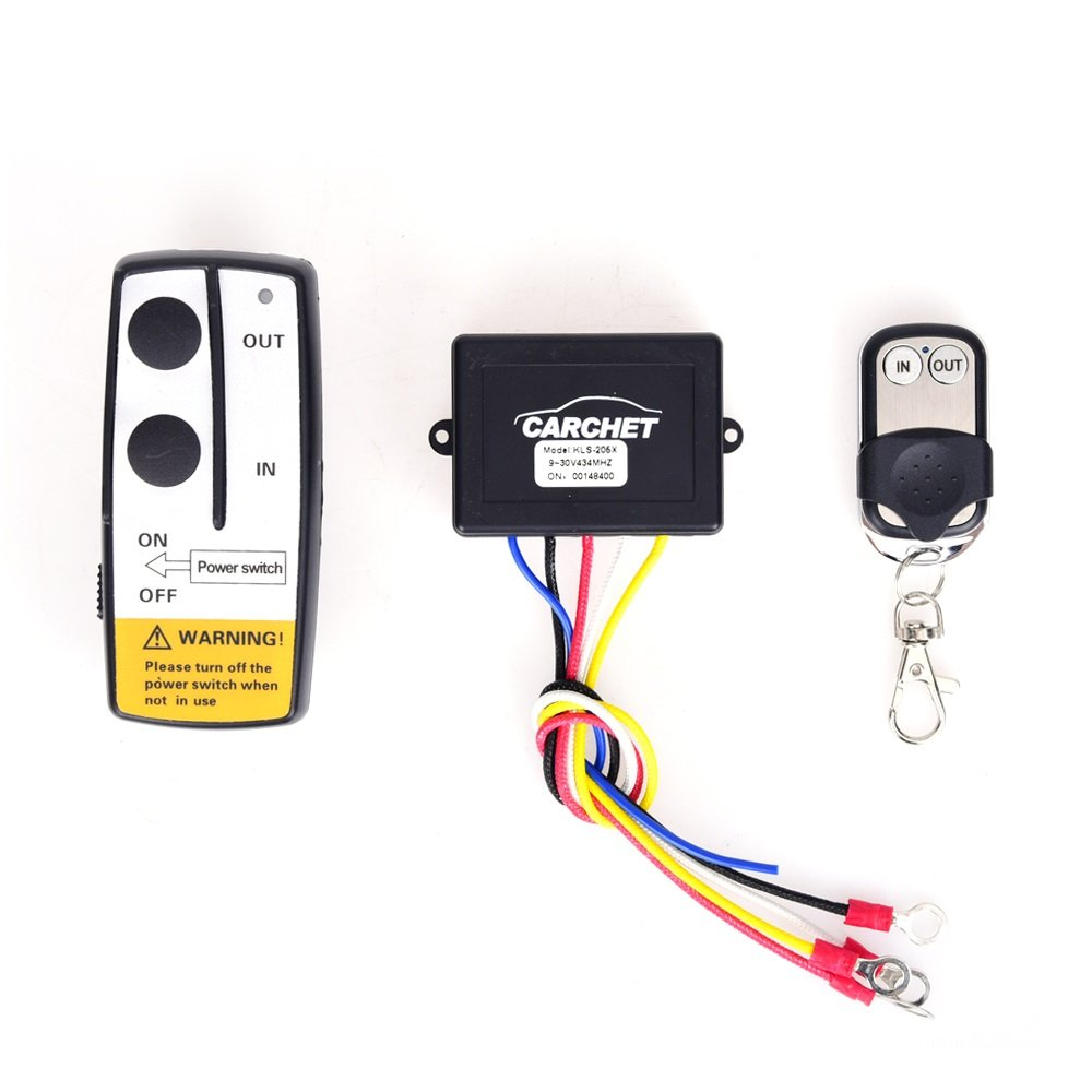 Carchet Wireless Winch Remote, 12 V Wireless Winch Remote Control Kit with Indicator Light for Truck Jeep ATV Winch