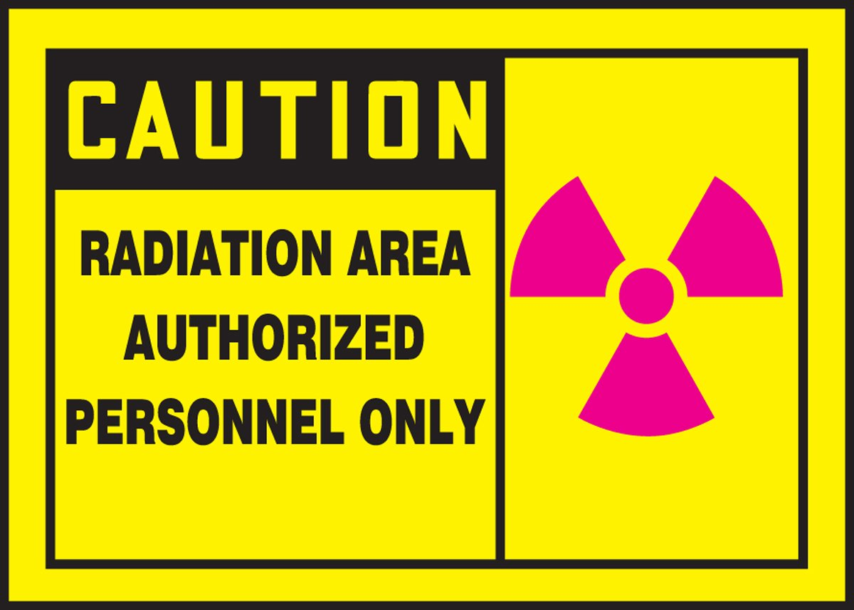 3.5 Length x 5 Width x 0.004 Thickness Pack of 5 Black//Magenta on Yellow 3.5 Height LegendCaution Radiation Area Authorized Personnel ONLY Accuform LRAD608VSP Adhesive Label Vinyl