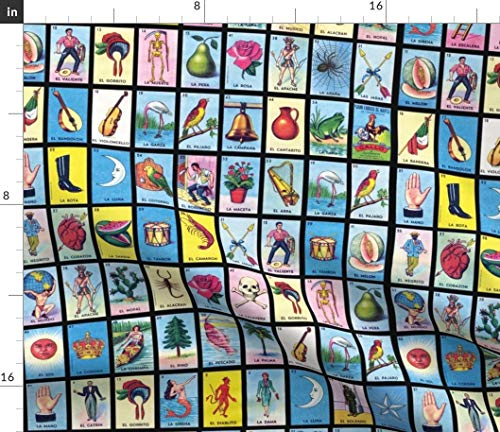 Spoonflower Loteria Fabric - Loteria Mexico Mexican Game Cards Loteria Cards Card Game by Jellymania Printed on Performance Piqu Fabric by The Yard