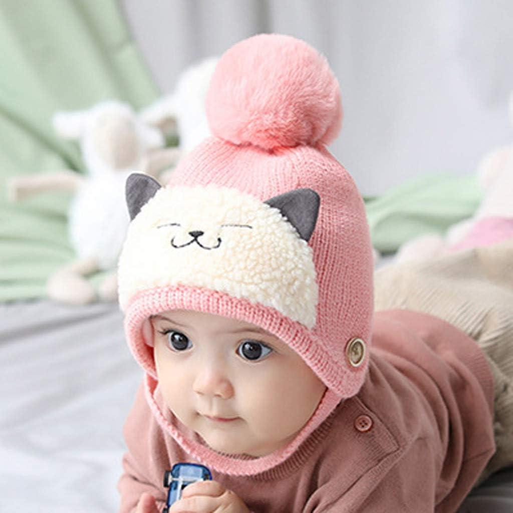 Autumn Winter Warm Knit Hat Kids Boy Girl Lovely Pompom Caps *DC Light Pink