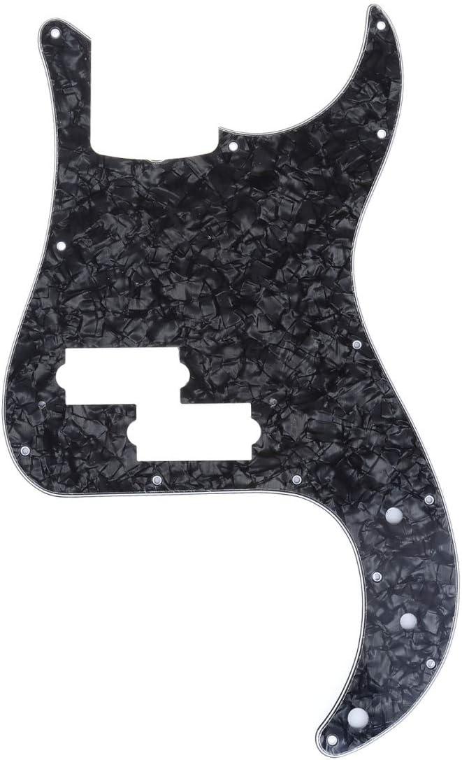 Musiclily Pro 10 Agujeros Pickguard de Bajo P-Style Golpeador para JPN Fender Japan Precision Bass de 4 Cuerdas,4 capas Black Pearl