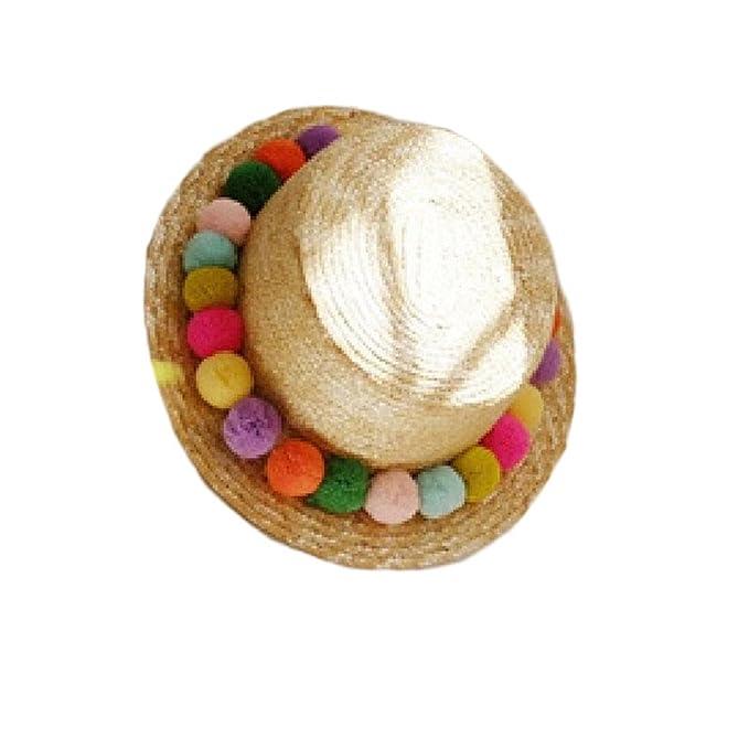 58356de5b22 Amazon.com  New Kids Girl Summer Pom Pom Visor Sun Straw Hats ...
