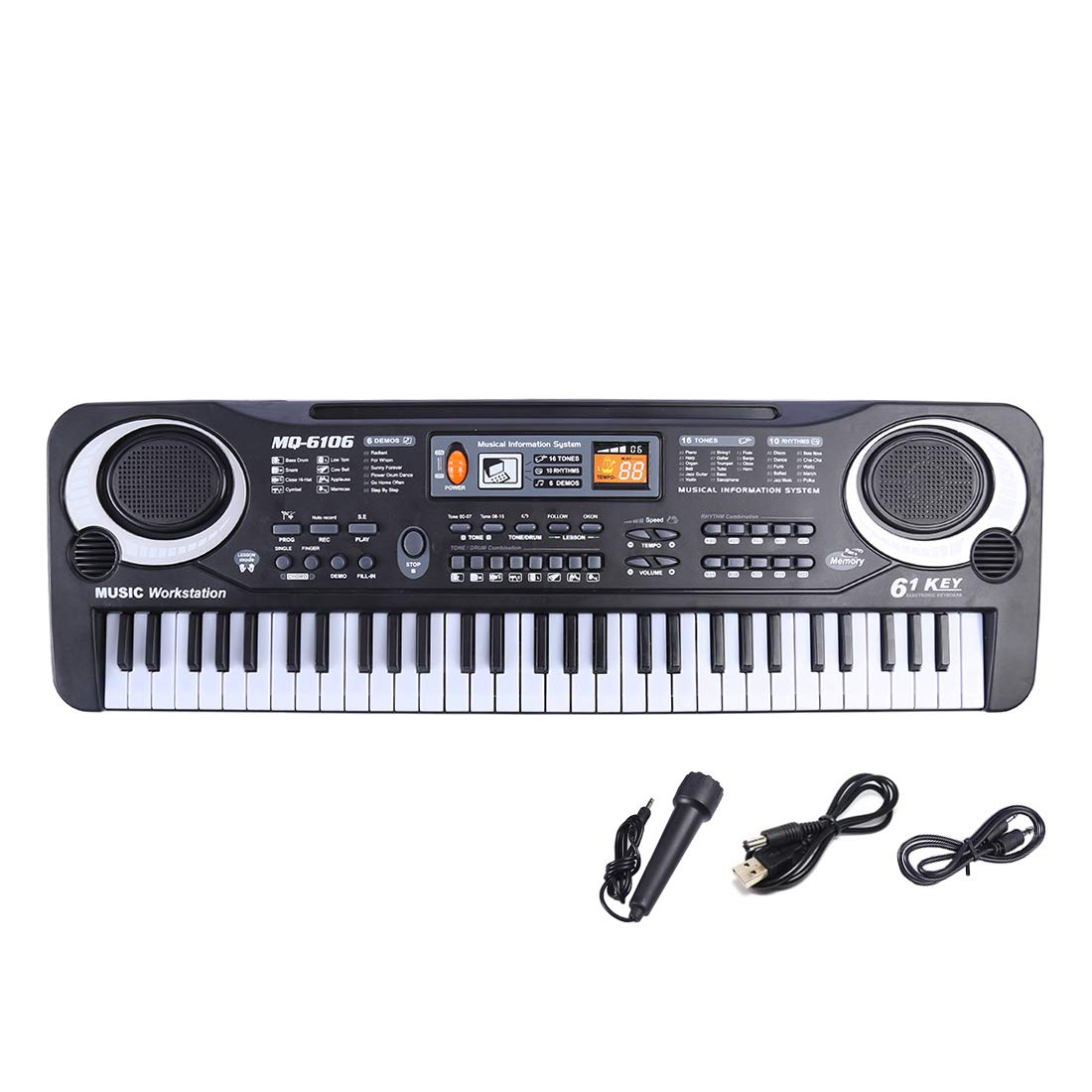 RuiyiF 61-Key Portable Keyboard Piano with Microphone for Kids, Electronic Piano Keyboards Toys for Toddlers Boys Girls Age 3-9