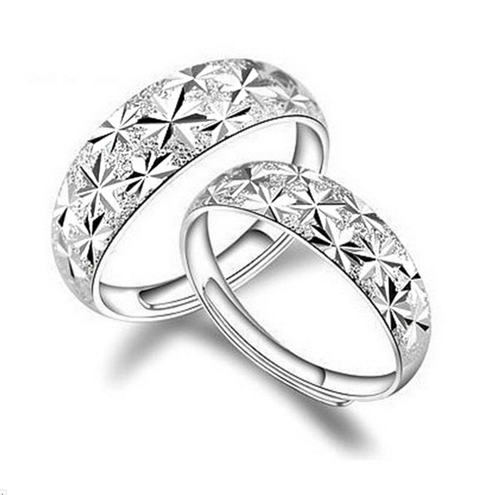 aiuin 2x Argenté Anneau de taille réglable ciel étoilé anneaux de couple cadeau de fiançailles de Valentin Bijoux et Accessoires