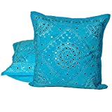 Little India Mirror Lace Embroidered 2Pc. Cushion Covers Set 816
