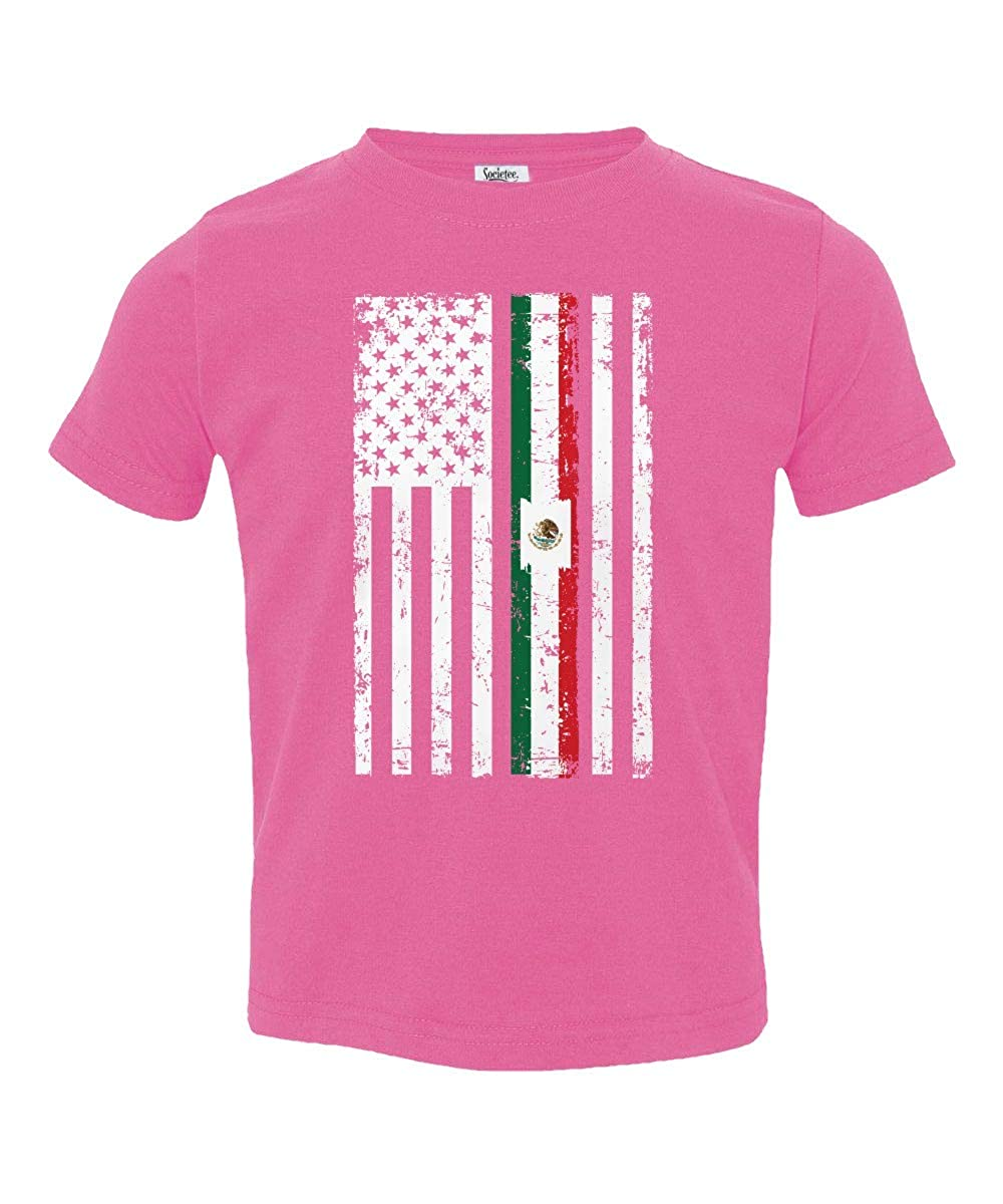 Societee Mexican American Flag Cute Adorable Little Kids Girls Boys Toddler T-Shirt