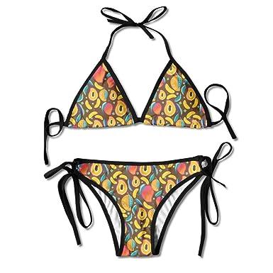 ea8e316847c46 Women Girl Mango Fruit Adjustable Sexy Bathing Suit Bikini Set Beach  Swimsuit Two Pieces Swimwear