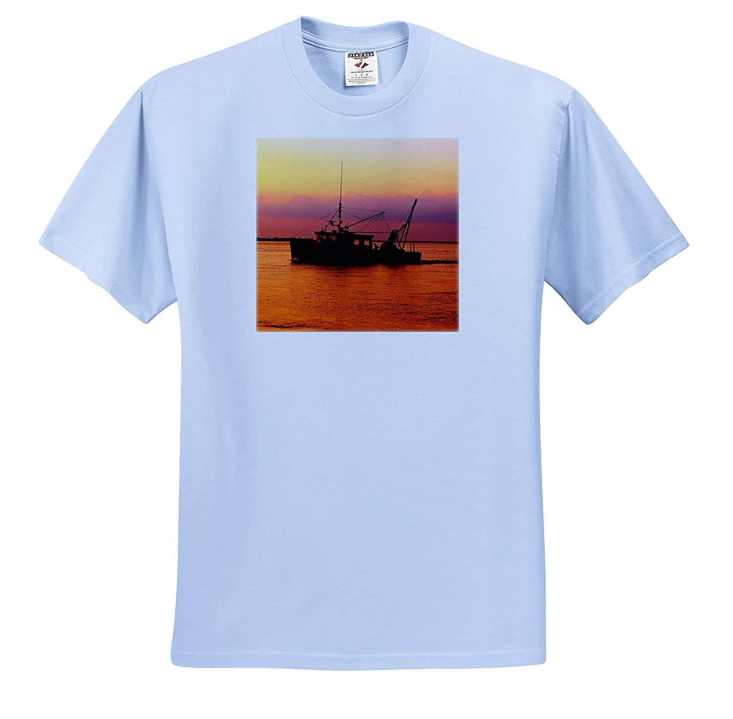 - T-Shirts Transportation Photograph of a Fishing Boat Heading Home During a Stunning Sunset 3dRose Stamp City