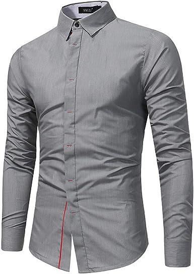 SoonerQuicker Camisa de Hombre Botón Casual para Camiseta con Cuello Redondo Slim Fit Camiseta de Manga Larga BlusaT Shirt tee: Amazon.es: Ropa y accesorios