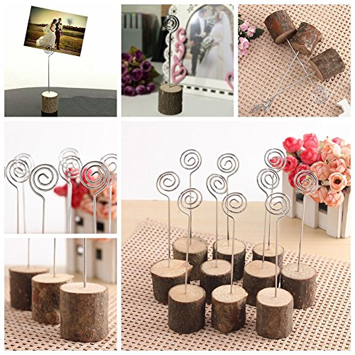 Photo Clip Rustic Real Wood Base Table Name Number Holder Picture and Memo Note Card Holders for Wedding Party Decoration Photo #7