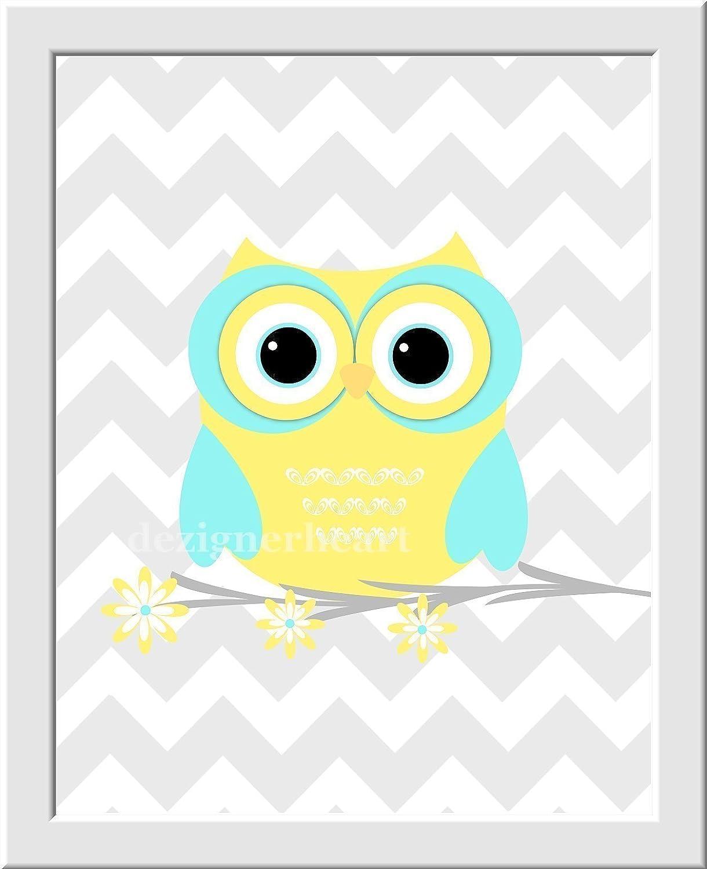 Amazon.com: Baby Nursery Wall Art Yellow Aqua Teal Gray Owls ...