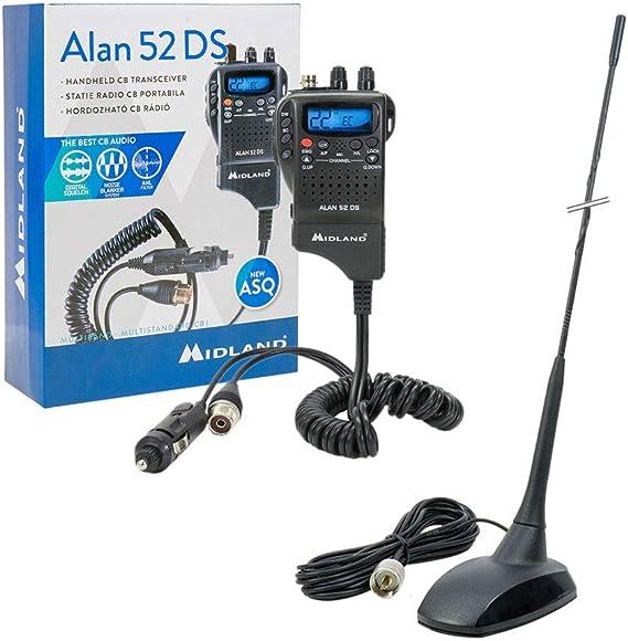 Midland Mid Pack67 Alan 52 Ds Cb Radiosender Kit Mit Pni Extra 48 Magnetantenne Schwarz Heimkino Tv Video