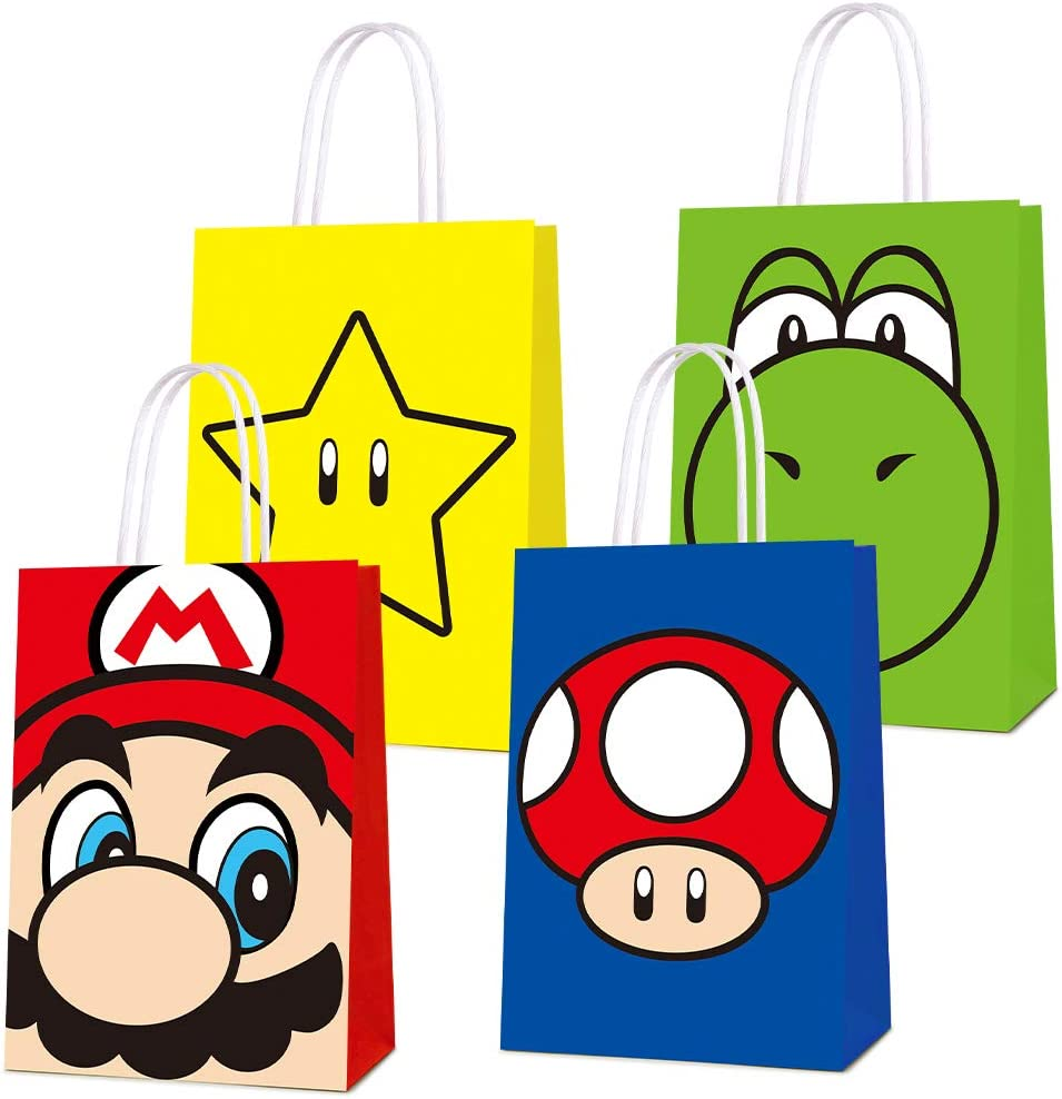 16 PCS Party Favor Bags for Super Bros Mario Birthday Party Supplies, Party Gift Bags for Super Bros Mario Party Favors Decor Party Decor for Super Bros Mario Themed Birthday Decorations