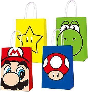 Bolsas de regalo para fiesta de cumpleaños de Super Mario, bolsas de dulces para decoración de fiesta de cumpleaños con temática de Super Mario Bros, decoración de fiesta de cumpleaños: Amazon.es: Salud