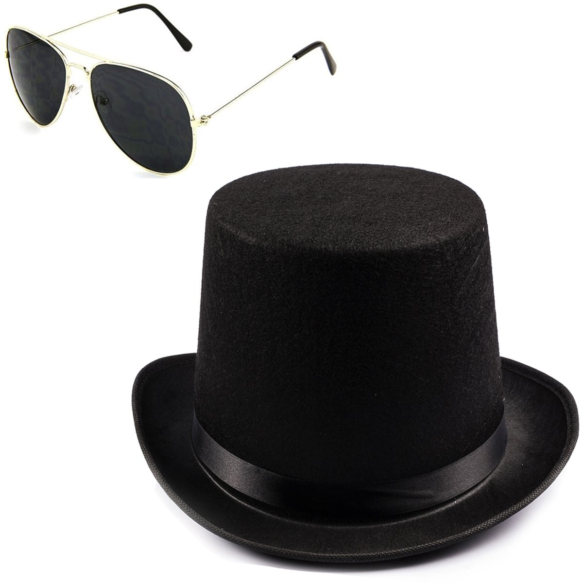 Funny Party Hats Black Guitar Player Costume Accessory Felt Top Hat-Aviator Sunglasses by