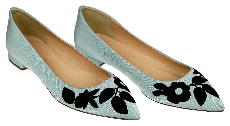 J Crew Embroidered Pointed-Toe Flats Aqua Mist Blue Size 8 New