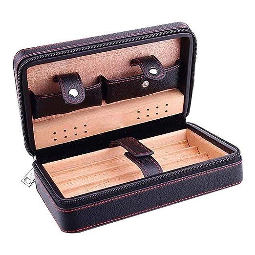 AMITD Humidor de Puros portátil Cedar Caja de Madera humidificador de Escritorio para 4 Cuentas, Color Negro: Amazon.es: Hogar