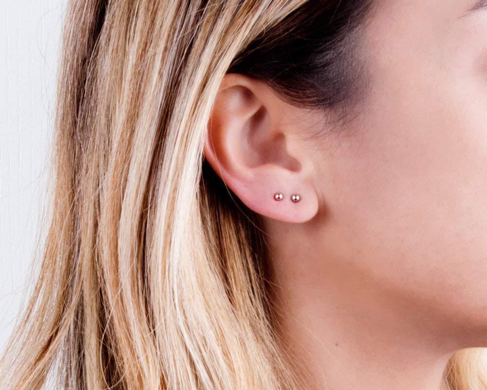 Designer Handmade Dainty Minimalist Post Earrings Rose Gold Tiny Ball Stud Earrings Size 3mm