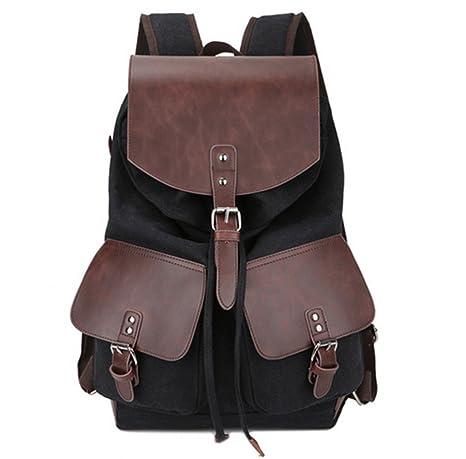 fb5c425025fa Men s backpack Vintage Fashion Casual Canvas Microfiber Leather Women  Backpacks Shoulder Bag Bags For Lady Rucksack