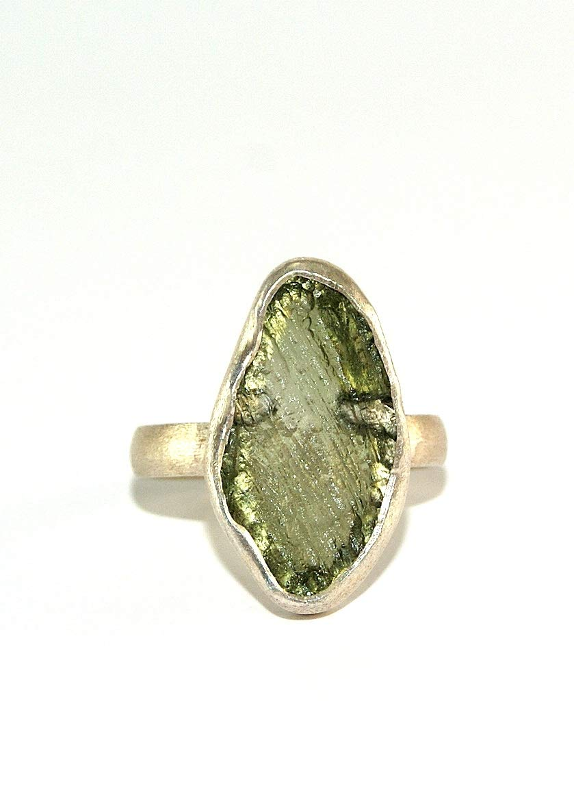 Moldavite Ring - Raw Rough - Brushed Sterling Silver - R1804