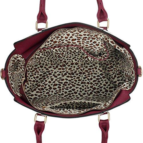Xardi London monocromatico multi donne borse a tracolla da donna in pelle sintetica design Grab Bags Burgundy/Nude Style 1
