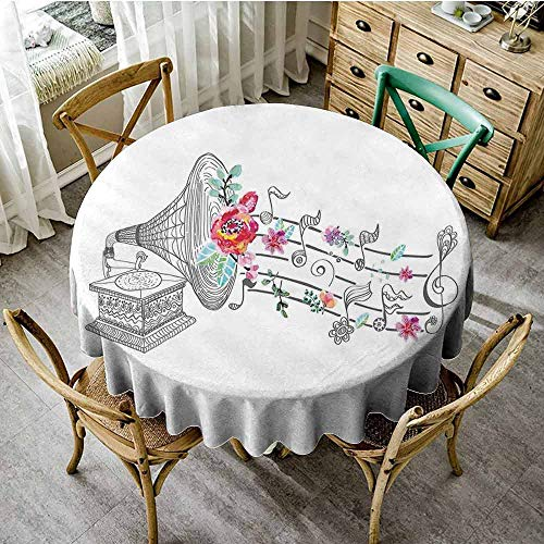 Music Decor Wrinkle Free Tablecloths Vintage Gramophone Record Player with Floral Ornament Blossom Antique Printed Round Tablecloth Grey Pink Diameter 50