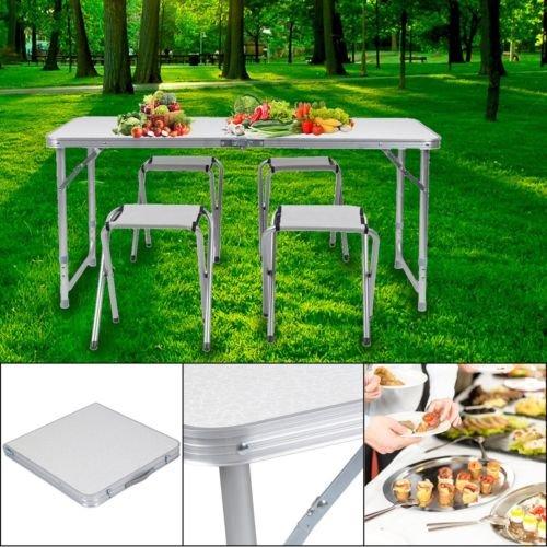 Cozime Table Pliante Camping Set De Avec 4 Chaises Pliantes En Aluminium Hauteur Rglable Mont Rapidement Pour Meubles