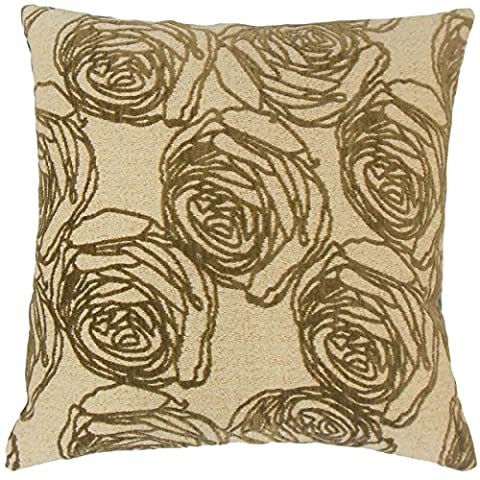 The Pillow Collection Ilaria Floral 22-inch Down Feather Throw Pillow Cork - Ilaria Collection