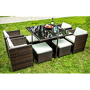 Merax 9 PCS Rattan Cube Garden Furniture Set Dining Set Outdoor Wicker  Cushioned Chair And Ottoman