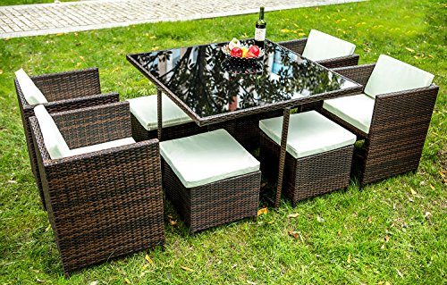 Merax 9 PCS Rattan Cube Garden Furniture Set Dining Set Outdoor wicker Cushioned Chair and Ottoman Rattan Patio Set (Brown) (Dining Furniture Cube Rattan)