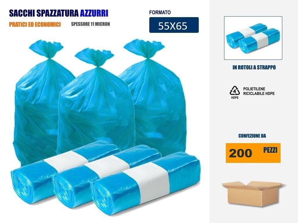 Imballaggi2000 Sacchetti Per Differenziata Azzurri 55x65 in rotolo pezzi (20) IMBALLAGGI 2000