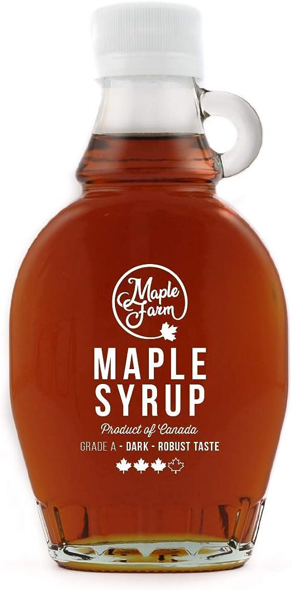 Maplefarm Pure Canadian Maple Syrup Dark 189ml 250g Grade A Pure Maple Syrup Canadian Maple Syrup Pancake Syrup Gluten Free Vegan Amazon Co Uk Grocery