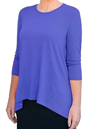 Kosher Casual Women's Modest 3/4 Sleeve Tunic Top 'High Low' Cut Medium Periwinkle