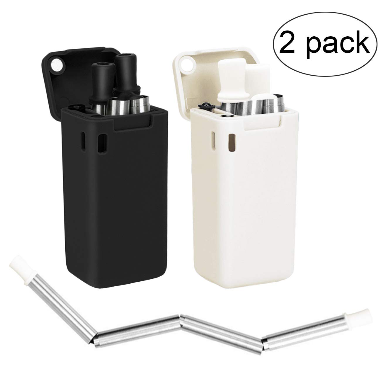 Senneny 2 Pack Collapsible Reusable Drinking Straws Stainless Steel Premium Food-Grade Folding Drinking Straws Keychain Portable Set with Hard Case Holder & Cleaning Brush (Black & White)