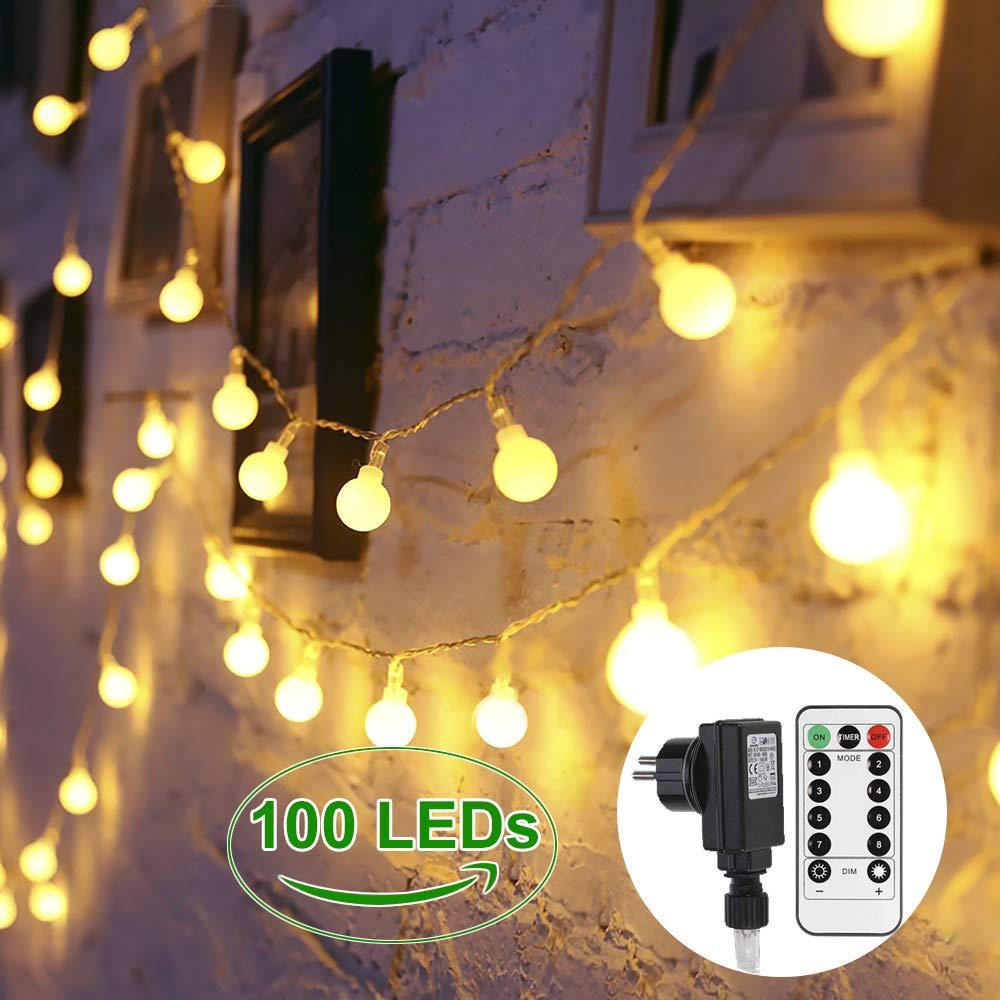 Luces de cadena exterior,Greempire Guirnalda de Luces 100LED,13.3 Metros,8 Modos de luz,Impermeable IP44,Luz de Cadena Decorativa Perfecta para Fiestas,Navidades,Bodas,Casa,Patio Blanco C/álido