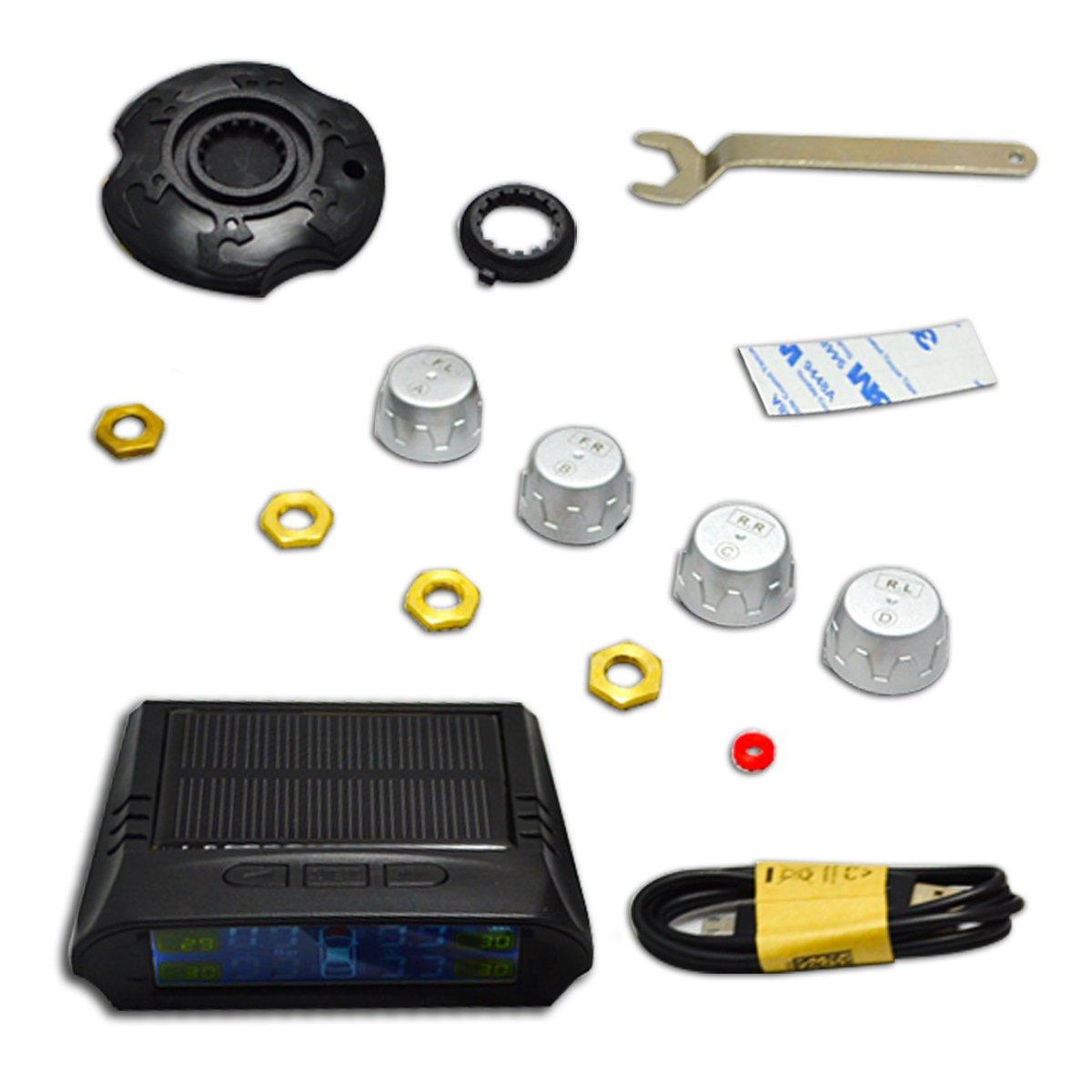 Meipro TPMS,Solar Power Reifendruck Kontrollsystem,Digital Wireless LCD Display Reifendruck-Monitor-System mit 4 externen Sensoren f/ür Home Car